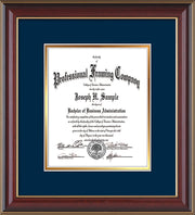 Image of Custom Cherry Lacquer Art and Document Frame with Navy on Gold Mat Vertical