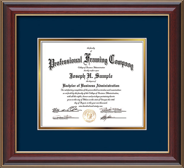 Image of Custom Cherry Lacquer Art and Document Frame with Navy on Gold Mat