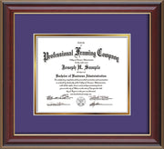 Image of Custom Cherry Lacquer Art and Document Frame with Purple on Gold Mat