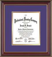 Image of Custom Cherry Lacquer Art and Document Frame with Purple on Gold Mat Vertical