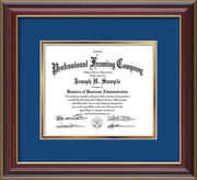 Image of Custom Cherry Lacquer Art and Document Frame with Royal Blue on Gold Mat