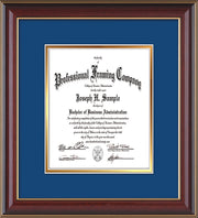 Image of Custom Cherry Lacquer Art and Document Frame with Royal Blue on Gold Mat Vertical