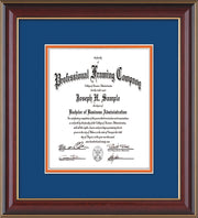 Image of Custom Cherry Lacquer Art and Document Frame with Royal Blue on Orange Mat Vertical