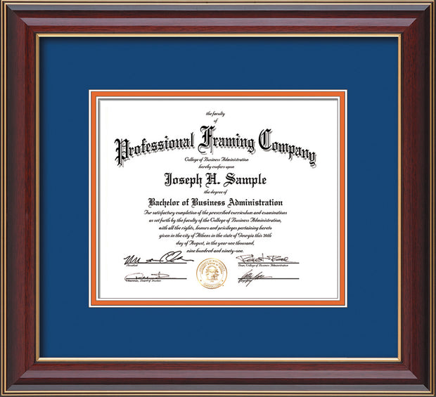 Image of Custom Cherry Lacquer Art and Document Frame with Royal Blue on Orange Mat