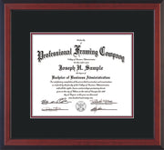 Image of Custom Cherry Reverse Art and Document Frame with Black on Maroon Mat