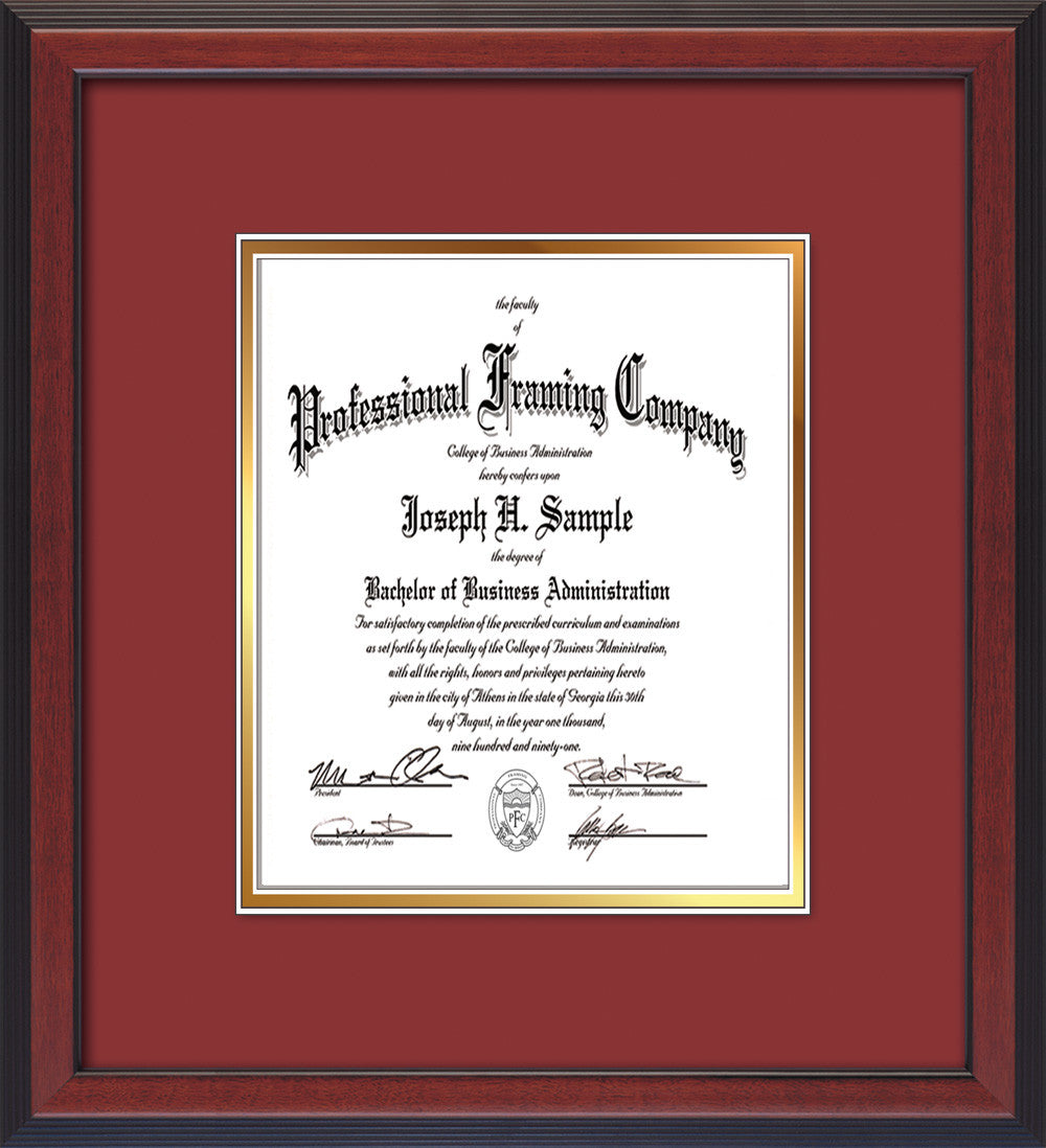 Custom Cherry Reverse Document - Certificate Frame - Garnet on Gold ...