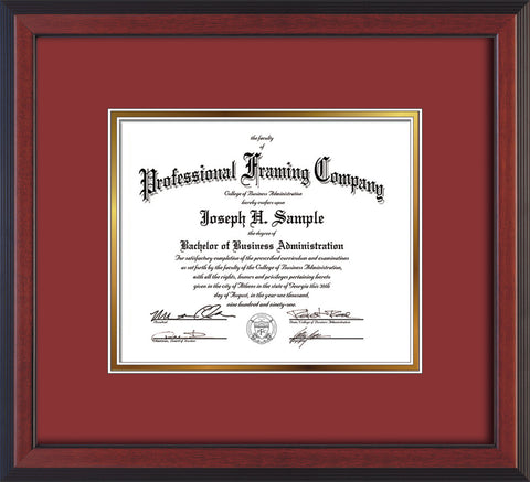 Image of Custom Cherry Reverse Art and Document Frame with Garnet on Gold Mat