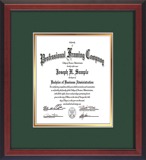 Image of Custom Cherry Reverse Art and Document Frame with Green on Gold Mat Vertical