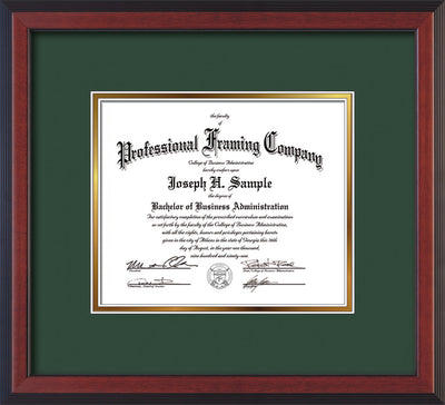 Image of Custom Cherry Reverse Art and Document Frame with Green on Gold Mat