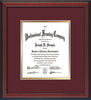 Image of Custom Cherry Reverse Art and Document Frame with Maroon on Gold Mat Vertical