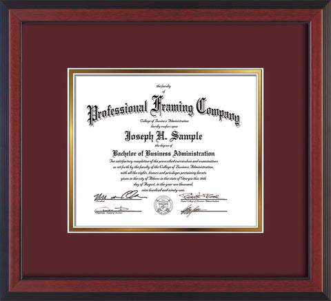 Image of Custom Cherry Reverse Art and Document Frame with Maroon on Gold Mat