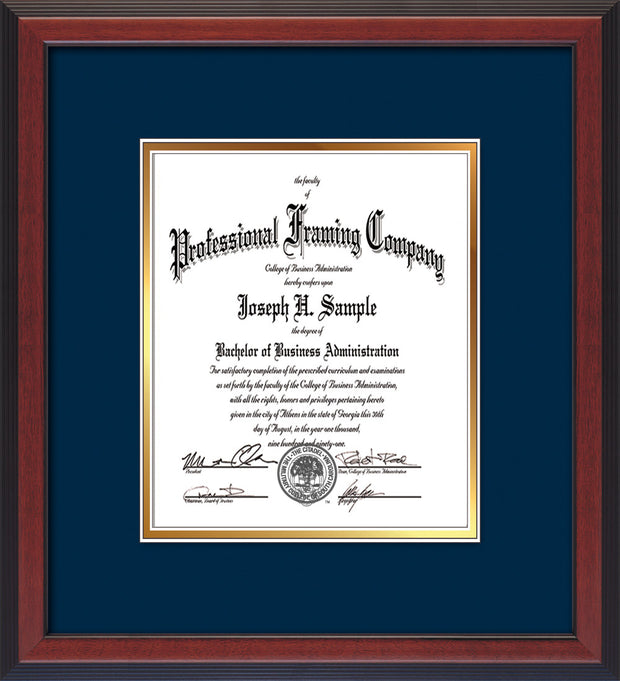 Image of Custom Cherry Reverse Art and Document Frame with Navy on Gold Mat Vertical