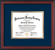 Image of Custom Cherry Reverse Art and Document Frame with Navy on Gold Mat