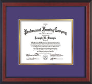 Image of Custom Cherry Reverse Art and Document Frame with Purple on Gold Mat