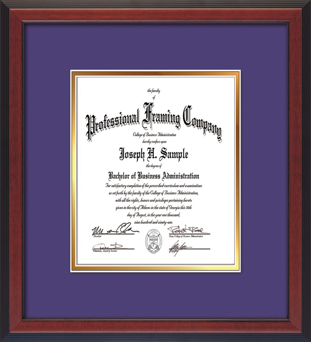 image of custom cherry reverse art and document frame with purple on gold mat vertical - Document Frames