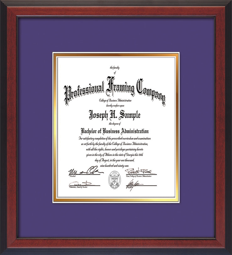 Image of Custom Cherry Reverse Art and Document Frame with Purple on Gold Mat Vertical