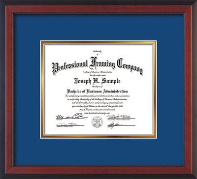 Image of Custom Cherry Reverse Art and Document Frame with Royal Blue on Gold Mat