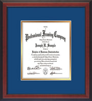 Custom Cherry Reverse Art and Document Frame with Royal Blue on Gold Mat