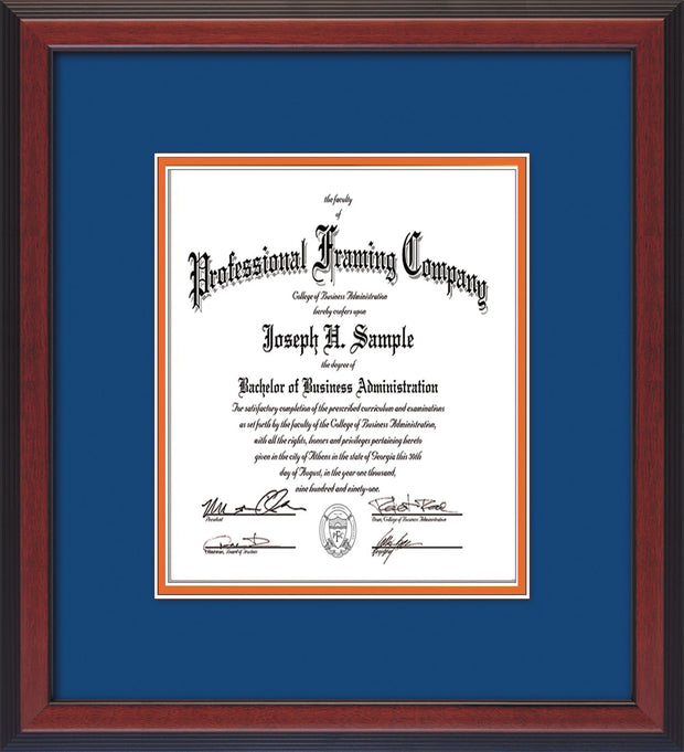 Image of Custom Cherry Reverse Art and Document Frame with Royal Blue on Orange Mat Vertical