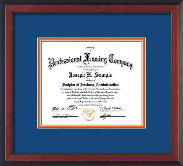 Image of Custom Cherry Reverse Art and Document Frame with Royal Blue on Orange Mat