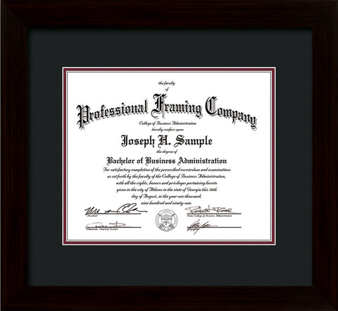 Image of Custom Flat Matte Black Art and Document Frame with Black on Maroon Mat