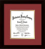Image of Custom Flat Matte Black Art and Document Frame with Garnet on Gold Mat Vertical