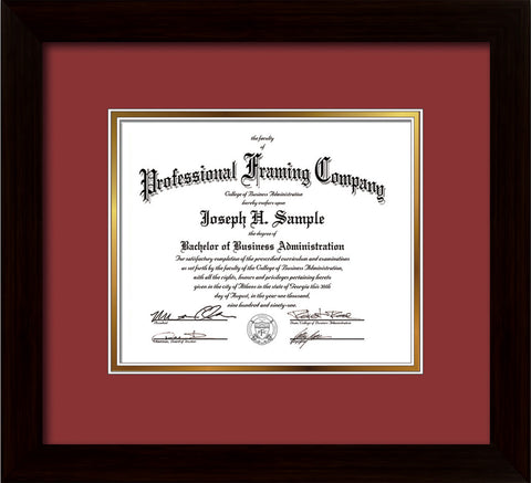 Image of Custom Flat Matte Black Art and Document Frame with Garnet on Gold Mat