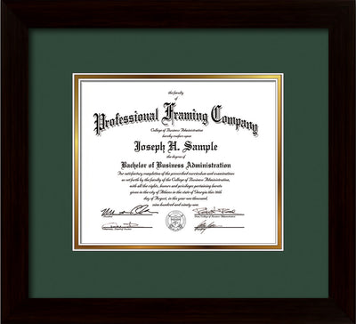 Image of Custom Flat Matte Black Art and Document Frame with Green on Gold Mat