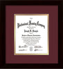 Image of Custom Flat Matte Black Art and Document Frame with Maroon on Gold Mat Vertical