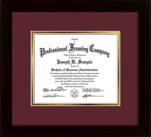 Image of Custom Flat Matte Black Art and Document Frame with Maroon on Gold Mat
