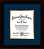 Image of Custom Flat Matte Black Art and Document Frame with Navy on Gold Mat Vertical