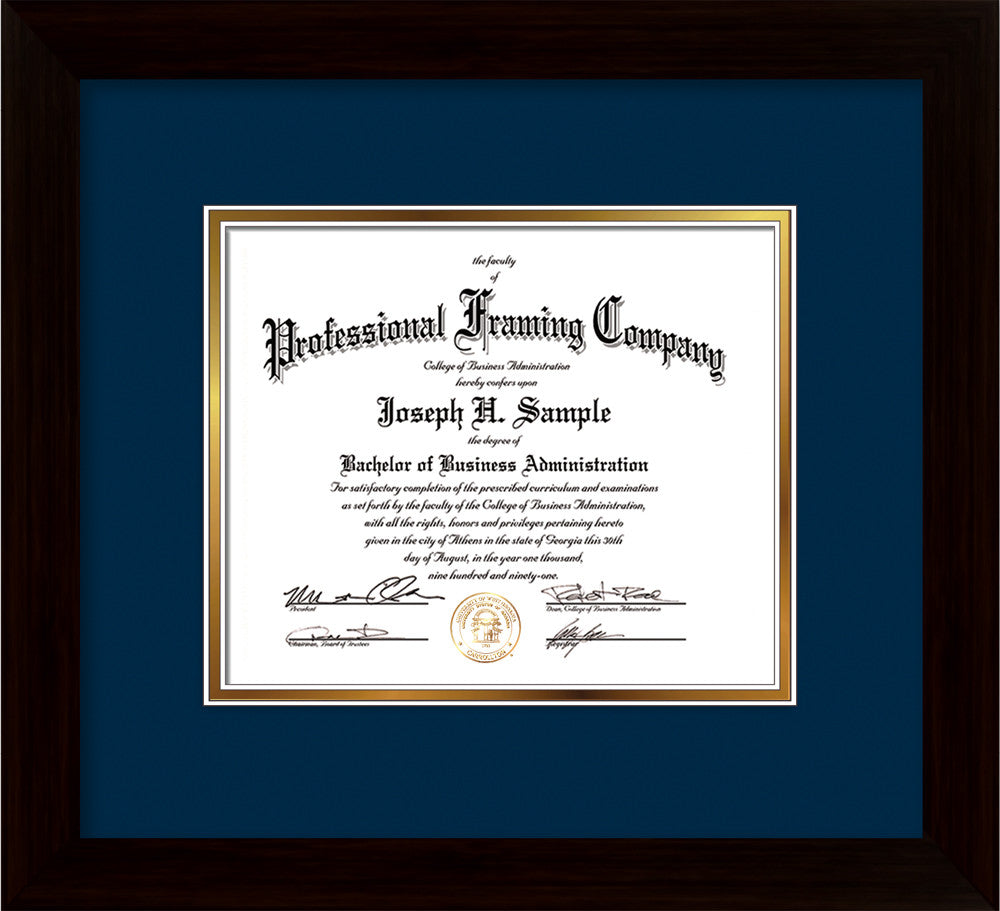 image of custom flat matte black art and document frame with navy on gold mat