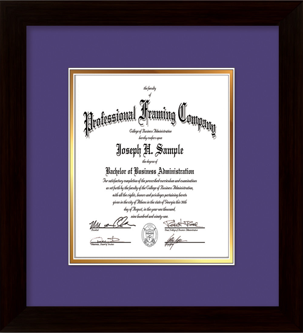 Custom Flat Matte Black Document - Certificate Frame - Purple on ...