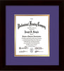 Image of Custom Flat Matte Black Art and Document Frame with Purple on Gold Mat Vertical