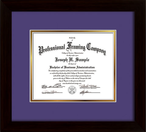 Image of Custom Flat Matte Black Art and Document Frame with Purple on Gold Mat
