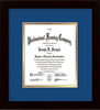 Image of Custom Flat Matte Black Art and Document Frame with Royal Blue on Gold Mat Vertical