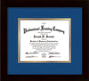 Image of Custom Flat Matte Black Art and Document Frame with Royal Blue on Gold Mat