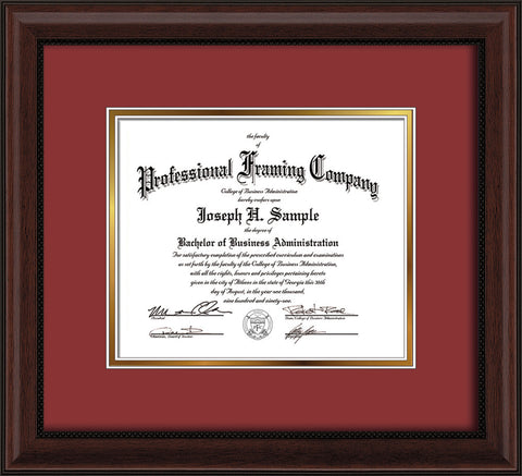 Image of Custom Mahogany Bead Art and Document Frame with Garnet on Gold Mat
