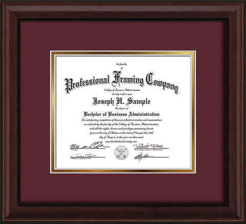 Image of Custom Mahogany Bead Art and Document Frame with Maroon on Gold Mat