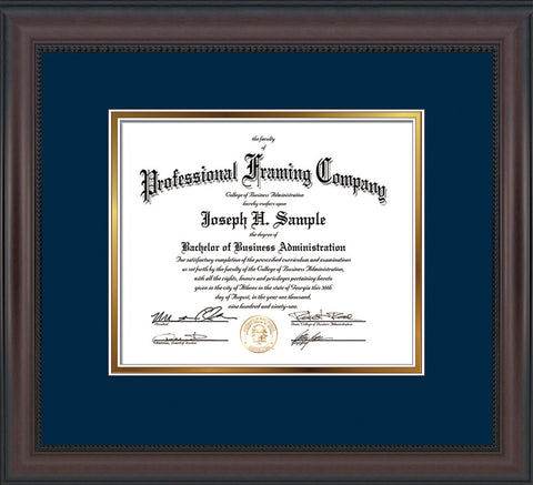 Image of Custom Mahogany Bead Art and Document Frame with Navy on Gold Mat