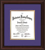 Image of Custom Mahogany Bead Art and Document Frame with Purple on Gold Mat Vertical