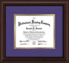 Image of Custom Mahogany Bead Art and Document Frame with Purple on Gold Mat