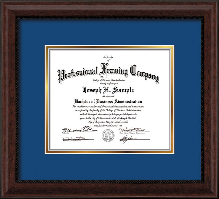 Image of Custom Mahogany Bead Art and Document Frame with Royal Blue on Gold Mat