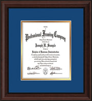 Image of Custom Mahogany Bead Art and Document Frame with Royal Blue on Gold Mat Vertical
