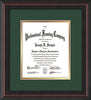 Image of Custom Mahogany Braid Art and Document Frame with Green on Gold Mat Vertical