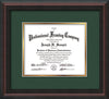 Image of Custom Mahogany Braid Art and Document Frame with Green on Gold Mat