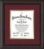 Image of Custom Mahogany Braid Art and Document Frame with Maroon on Gold Mat Vertical
