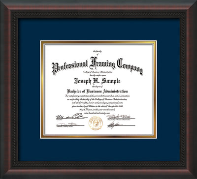 Image of Custom Mahogany Braid Art and Document Frame with Navy on Gold Mat