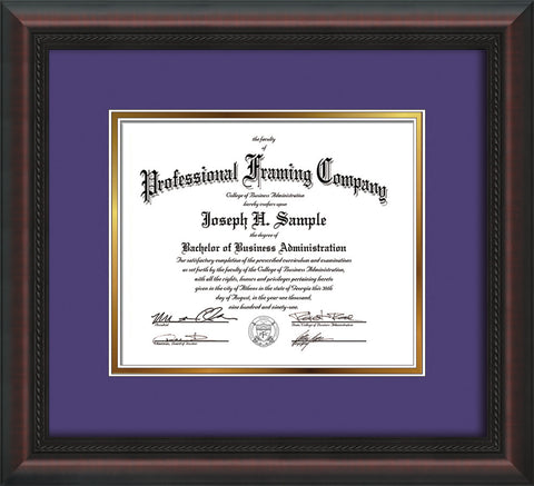 Image of Custom Mahogany Braid Art and Document Frame with Purple on Gold Mat