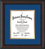 Image of Custom Mahogany Braid Art and Document Frame with Royal Blue on Gold Mat Vertical